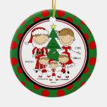 Cute Stick Figure Family of 5 Christmas Ornament