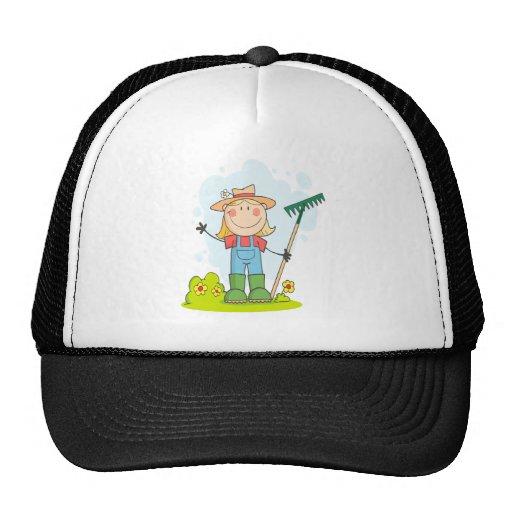 cute stick figure girl gardener farmer hats