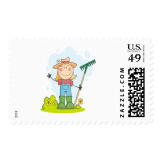 cute stick figure girl gardener farmer postage