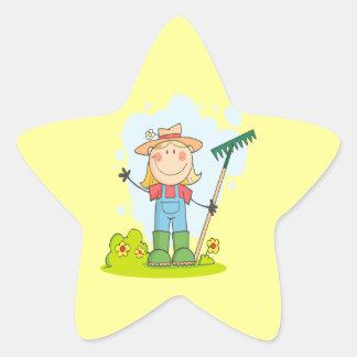 cute stick figure girl gardener farmer star sticker