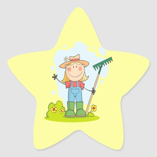 cute stick figure girl gardener farmer star sticker