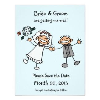 """Cute Stick Figure Save the Date Cards 4.25"""" X 5.5"""" Invitation Card"""