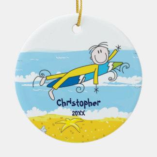 Cute Stick Figure Surfer Boy Christmas Ornament