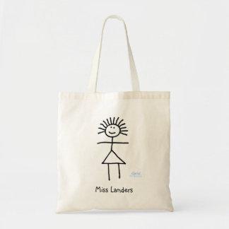 Cute Stick Figure Teacher Cartoon With Name Book Tote Bag