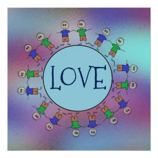 Cute Stick Figures Blue Planet Circle LOVE Poster