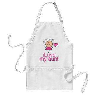 Cute Stick Girl Love My Aunt Gift Aprons