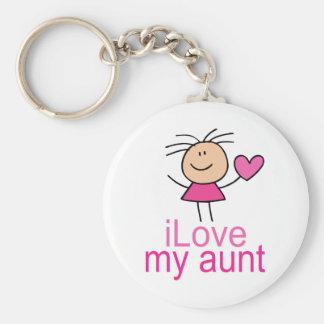 Cute Stick Girl Love My Aunt Gift Keychain