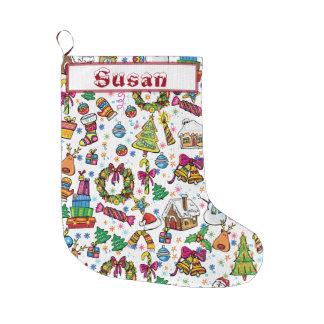 Cute Stocking Beautiful doodle Clip art name