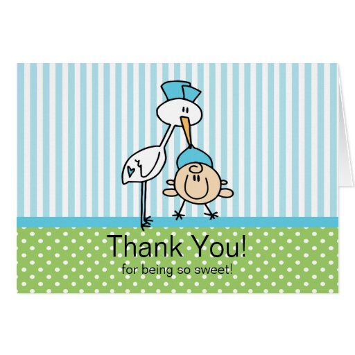 Cute Stork Baby Boy Baby Shower Stationery Note Card