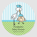 Cute Stork Baby Boy Baby Shower Round Stickers