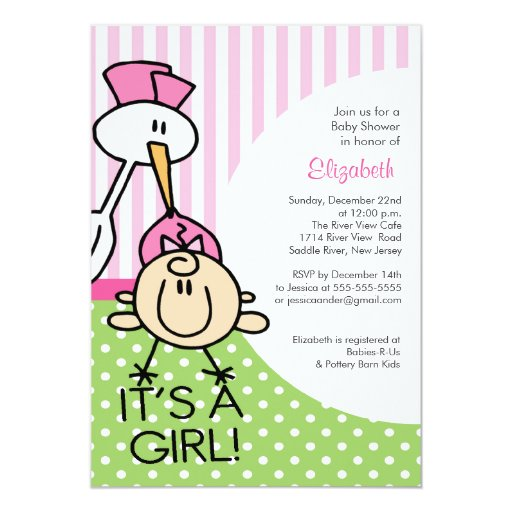 Cute stork baby girl baby shower invitations zazzle for Baby shower stork decoration