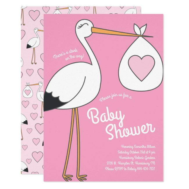 Cute Stork Baby Shower Mod Pink Girl Invitation