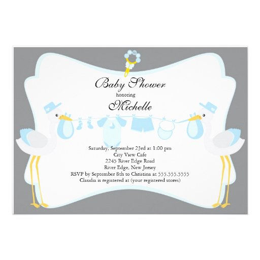 Baby shower of right with our cute stork baby shower invitation our