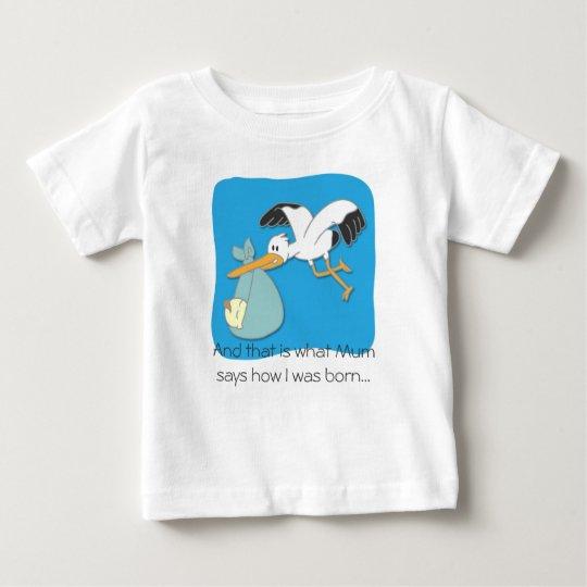 Cute Stork carrying baby cartoon T-shirt