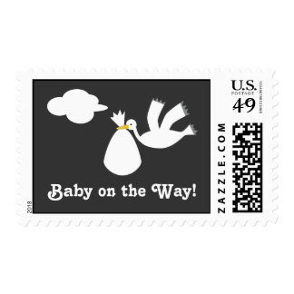 Cute Stork Carrying Bundle Baby Shower White Grey Postage Stamps