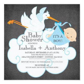 Cute Stork Chalkboard Boy Baby Shower Invitatation Card
