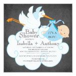 Cute Stork Chalkboard Boy Baby Shower Invitatation Personalized Invites
