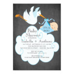 Cute Stork Chalkboard Boy Baby Shower Invitatation 5x7 Paper Invitation Card