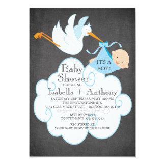 Cute Stork Chalkboard Boy Baby Shower Invitatation Announcement