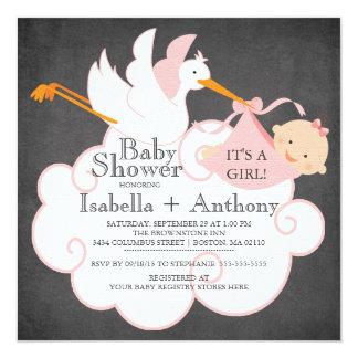 Cute Stork Chalkboard Gir lBaby Shower Custom Invitations