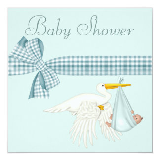 Cute Stork Delivering Baby Boy Blue Baby Shower Invites