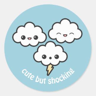 Cute Storm Clouds Classic Round Sticker