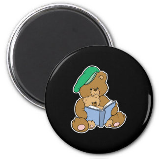 Cute Story Time Teddy Bear Design 2 Inch Round Magnet