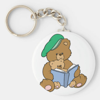 Cute Story Time Teddy Bear Design Basic Round Button Keychain