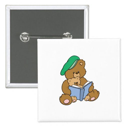 Cute Story Time Teddy Bear Design 2 Inch Square Button