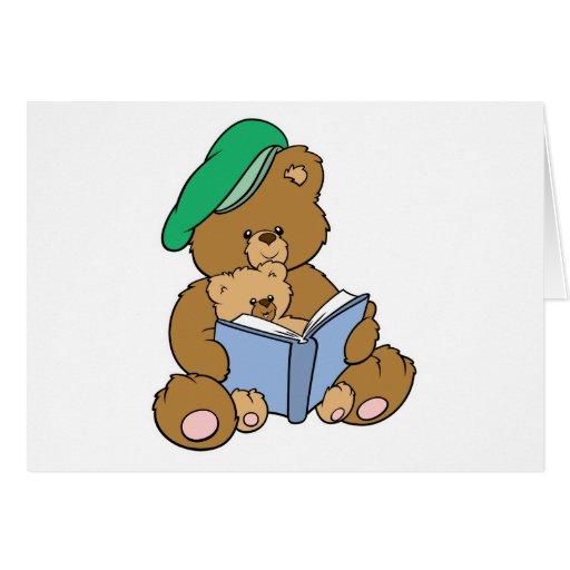 Cute Story Time Teddy Bear Design Greeting Card