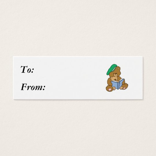 Cute Story Time Teddy Bear Design Mini Business Card