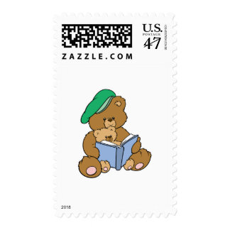 Cute Story Time Teddy Bear Design Postage Stamp