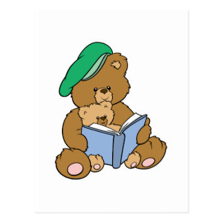 Cute Story Time Teddy Bear Design Postcard