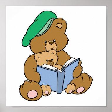 Cute Story Time Teddy Bear Design print