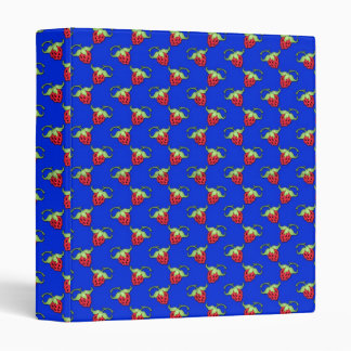 Cute Straberry Pattern On Blue Binder