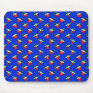Cute Straberry Pattern On Blue Mouse Pad