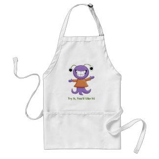 Cute Strange Purple Alien Cartoon Character Adult Apron