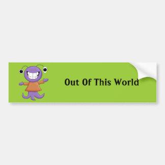Cute Strange Purple Alien Cartoon Character Car Bumper Sticker