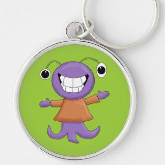 Cute Strange Purple Alien Cartoon Character Keychain