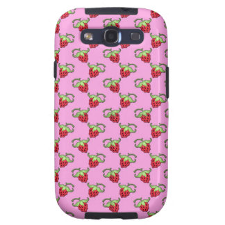 Cute Strawberries over Pink Pattern Samsung Galaxy S3 Cases