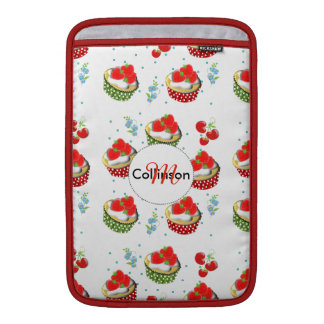 Cute Strawberry and Cream Topped Yummy Cup Cakes MacBook Air Sleeve