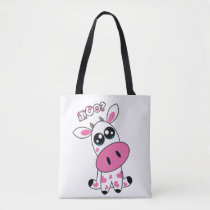 Cute Strawberry Cow face white Tote Bag