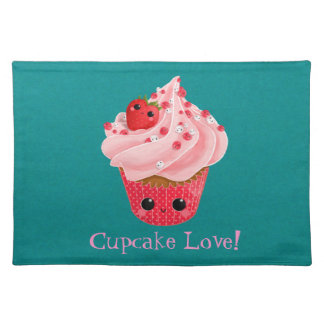 Cute Strawberry Cupcake Cloth Placemat