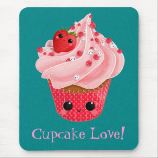 Cute Strawberry Cupcake Mouse Pad