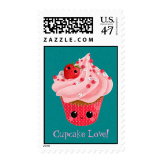 Cute Strawberry Cupcake Postage Stamp
