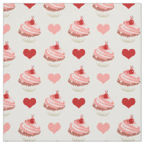 cute strawberry cupcakes and hearts fabric
