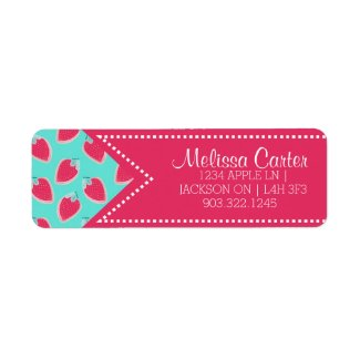 Cute Strawberry Fruit Pattern Name & Address Label