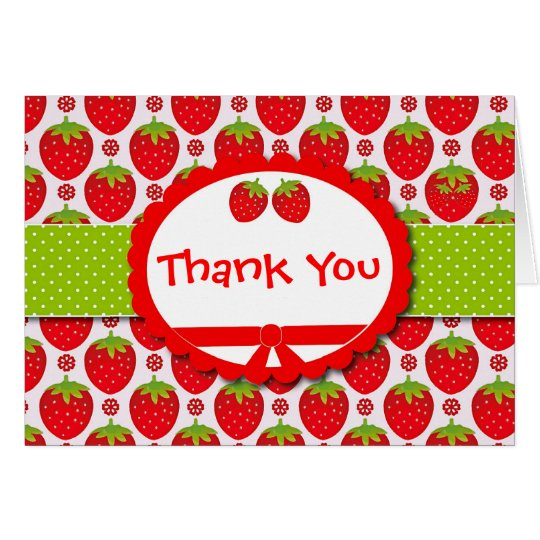 Cute Strawberry Girly & Personalized Thank You Card