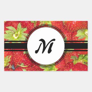 Cute Strawberry Healthy Fit Monogram Rectangular Sticker