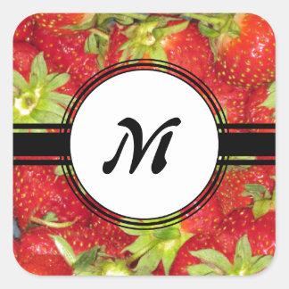 Cute Strawberry Healthy Fit Monogram Square Sticker